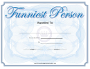 Funniest Person Award Certificate Template
