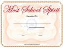 Most School Spirit Award Certificate Template