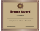 Bronze Award Certificate Template