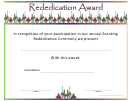 Rededication Award Certificate Template