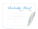 Leadership Award Certificate Template - Blue Feather