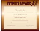 Fitness Award Certificate Template