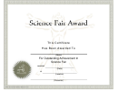 Science Fair Award Certificate Template
