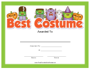 Best Costume Award Certificate Template