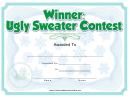 Ugly Sweater Contest Award Certificate Template