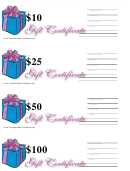 10, 25, 50 & 100 Dollar Gift Certificate Template - Lilac And Blue