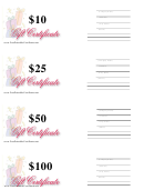 10, 25, 50 & 100 Dollar Gift Certificate Template - Gift Box