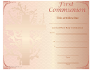 First Holy Communion Certificate Template - Cross