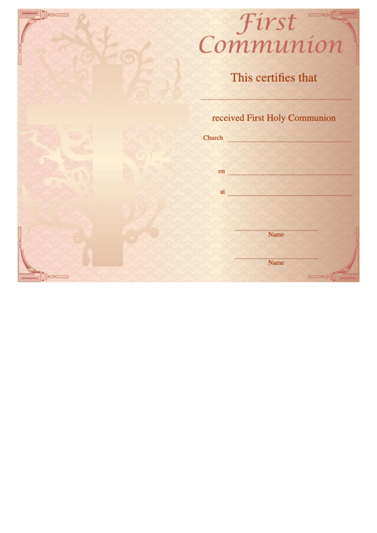 First Holy Communion Certificate Template