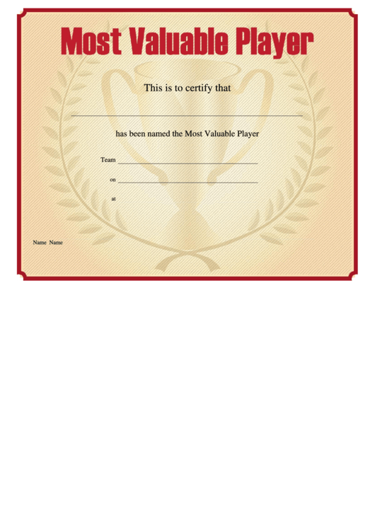 Most Valuable Player Certificate Template - Sports Cup