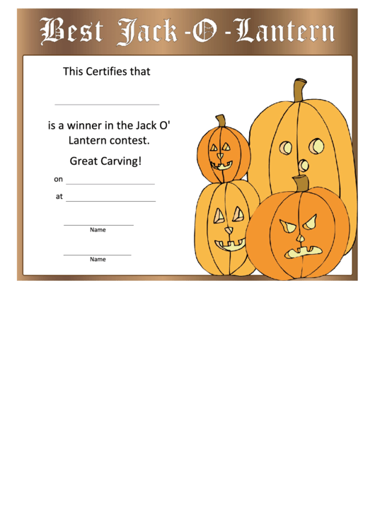 Pumpkin Carving Winner Certificate Template