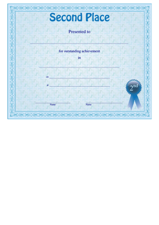 second place certificate template printable pdf download