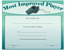 Most Improved Player Certificate Template