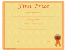 First Prize Certificate Template