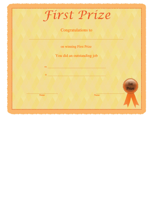 First prize certificate template printable pdf download for First prize certificate template