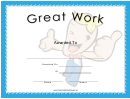 Great Work Certificate Template