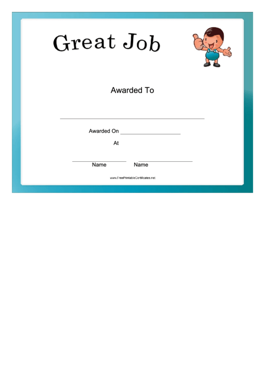 great job certificate template printable pdf download