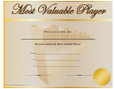 Most Valuable Player Certificate Template - Tan And Gold