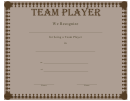 Team Player Certificate Template