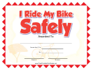 I Ride My Bike Safely Certificate Template