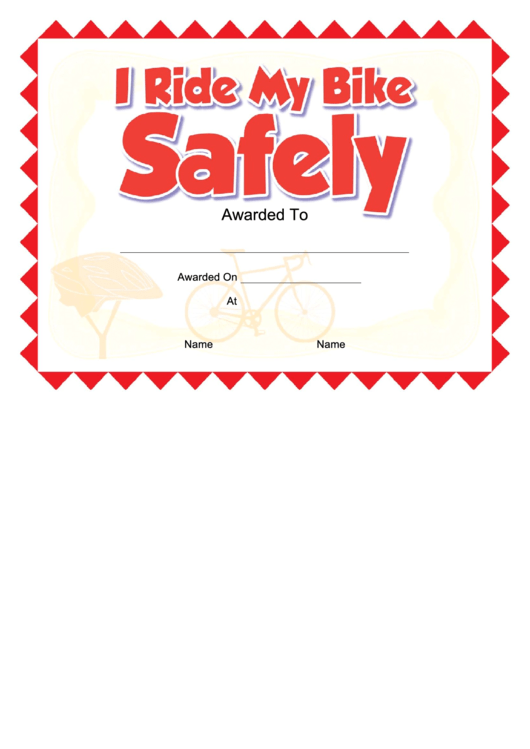 I Ride My Bike Safely Certificate Template Printable pdf