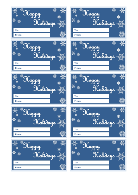 Happy Holiday Gift Tag Template - Snowflakes