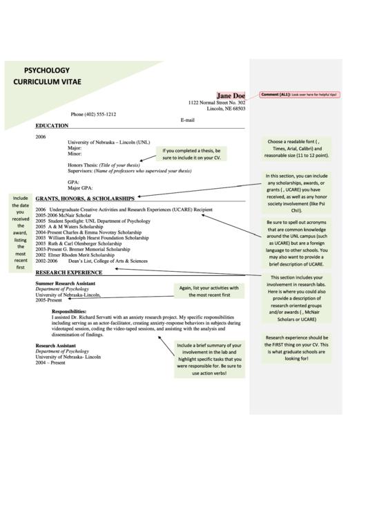 sample psychology curriculum vitae printable pdf download