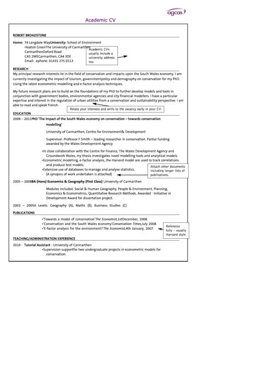 Sample Academic Cv Template
