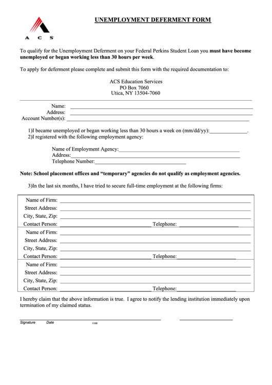 acs unemployment deferment form printable pdf download. Black Bedroom Furniture Sets. Home Design Ideas
