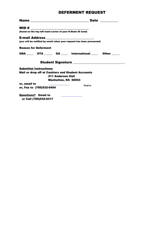 Fillable Deferment Request printable pdf download