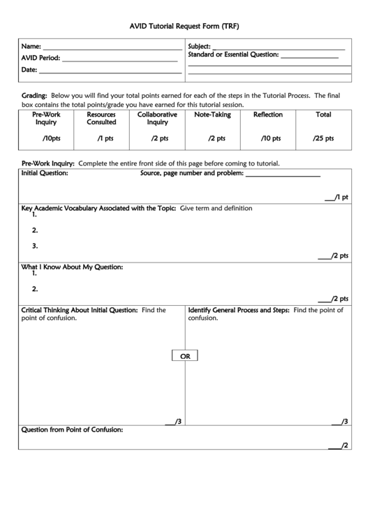Avid Tutorial Request Form (trf) printable pdf download