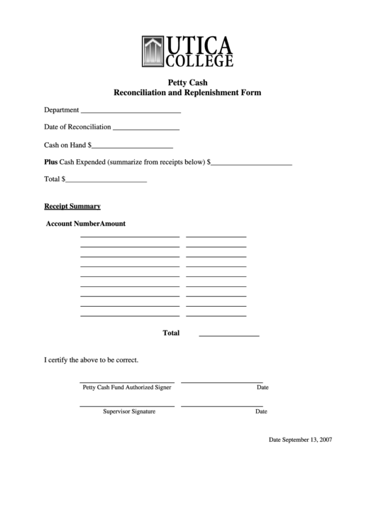 top 5 petty cash reconciliation form templates free to download in