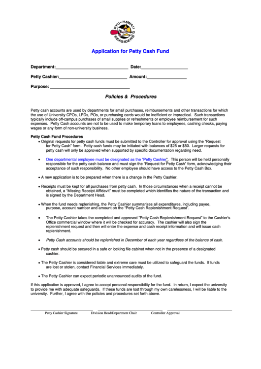 byu hawaii seasiders application for petty cash fund printable pdf