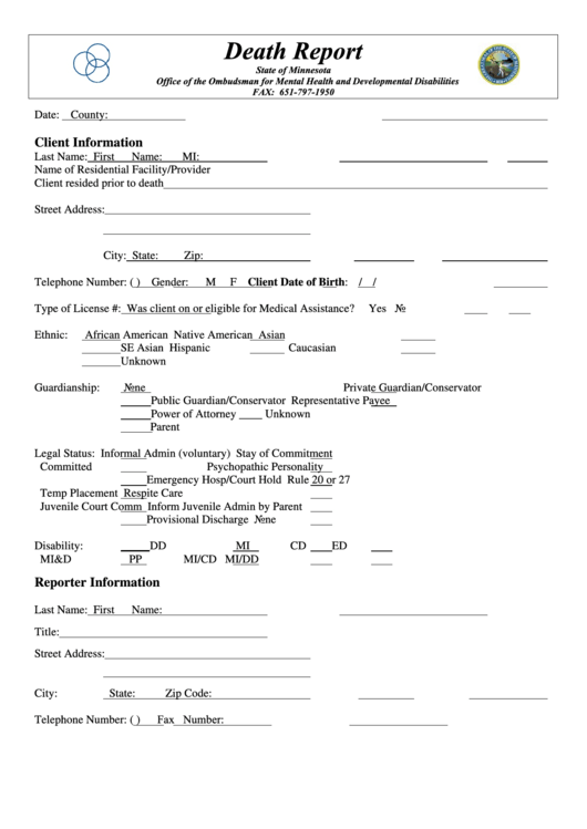 state of minnesota death report form printable pdf download