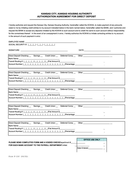 Authorization Agreement For Direct Deposit Form - Kansas City, Kansas Housing Authority