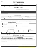 Form Mvr-1 - Title Application