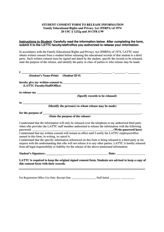 school consent for student release form template
