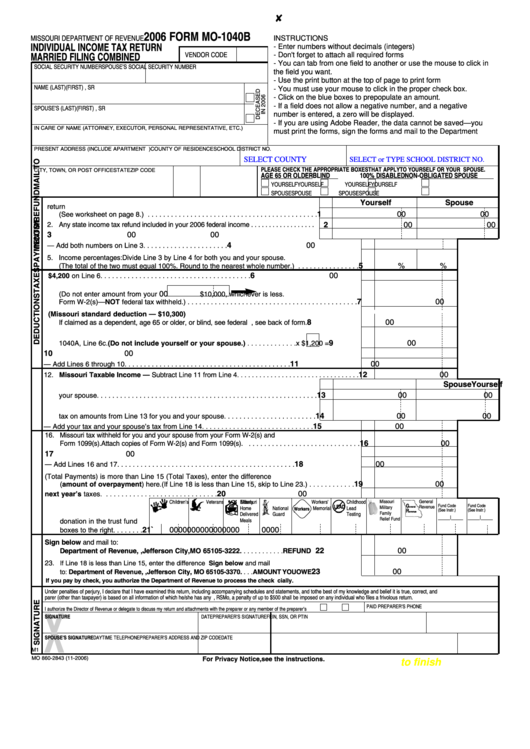 Missouri Income Tax Form 1040 Instructions