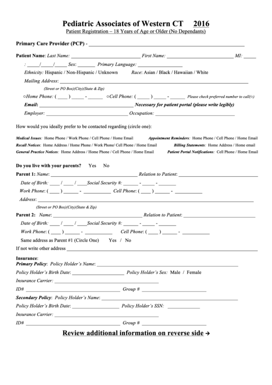 Patient Registration Form - 18 Years Of Age Or Older (no Dependants)