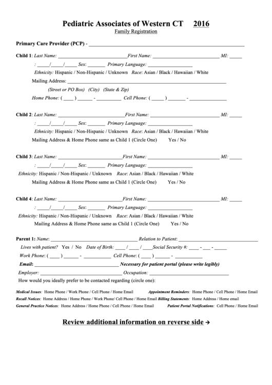 Family Registration Form
