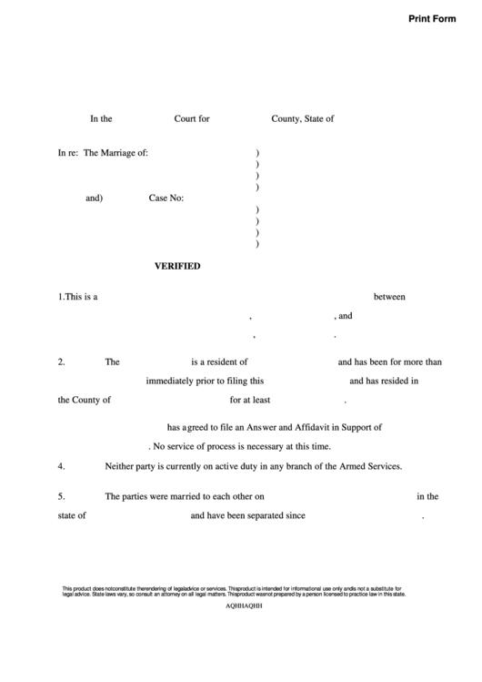 Fillable Divorce Verification - Court Form Printable pdf