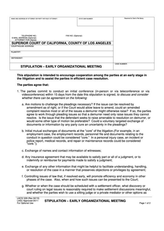 Form Laciv 229 Stipulation - Early Organizational Meeting