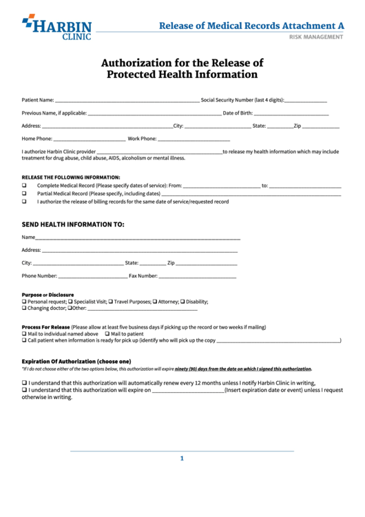 Authorization For The Release Of Protected Health Information Form Printable pdf