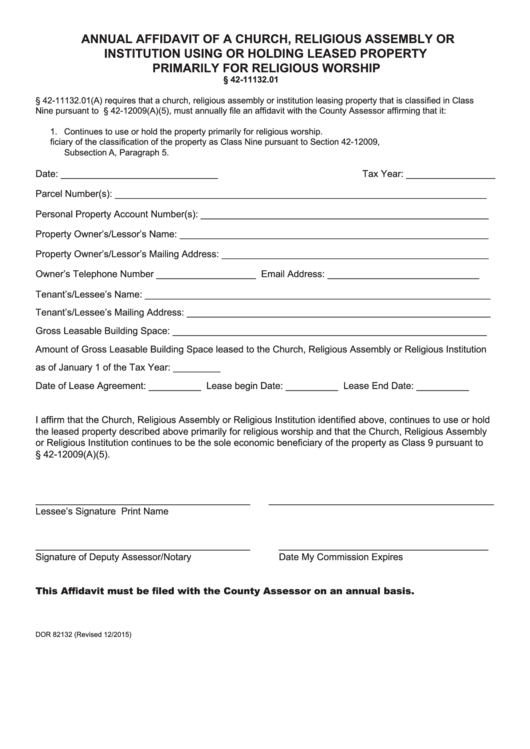 Fillable Form Dor 82132 - Annual Affidavit Form Of A Church, Religious Assembly Or Institution Using Or Holding Leased Property Primarily For Religious Worship Printable pdf
