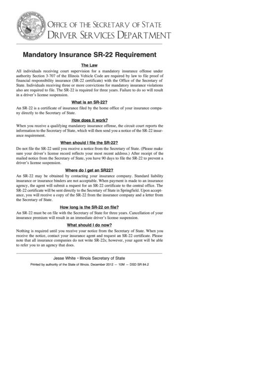 Mandatory Insurance Sr-22 Requirement (Instructions ...