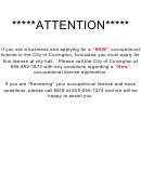 Application For Occupational License - City Of Covington, La