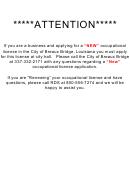 Application For Occupational License - City Of Breaux Bridge, La