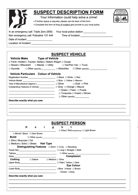 suspect description form printable pdf download