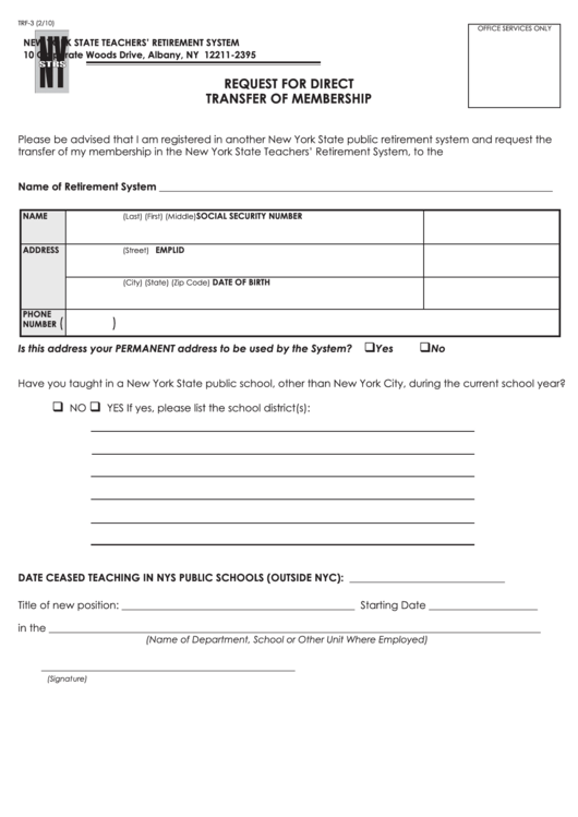 Form Trf-3 Request For Direct Transfer Of Membership