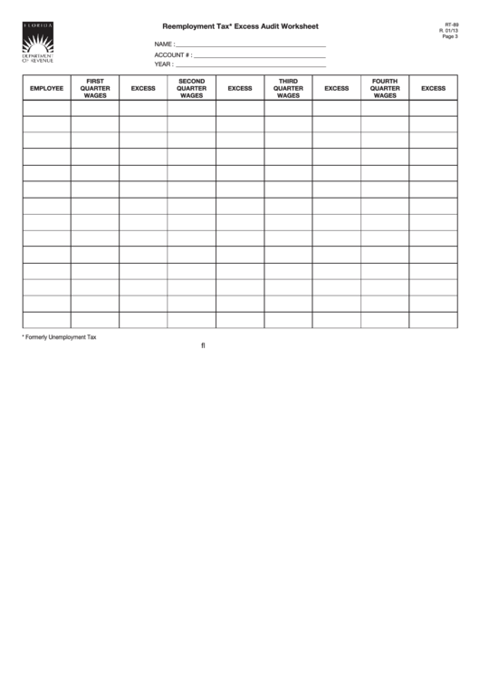 Form Rt-89 - Reemployment Tax Excess Audit Worksheet Printable pdf